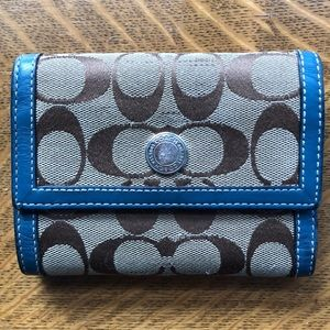 Authentic Coach Wallet with Blue Leather Trim